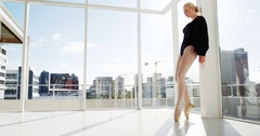Ballerina practicing ballet dance Stock Footage