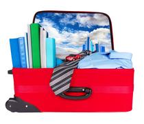 Travel blue business suitcase packed for trip Stock Photos