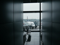 Lufthansa Airlines Boeing Airbus plane being loaded before flight Stock Footage