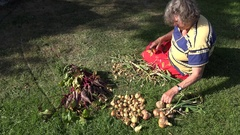 Senior gardener sitting on grass processing fresh onion heads and cat pet. 4K Stock Footage