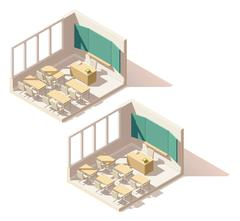 Vector isometric low poly school classroom Piirros