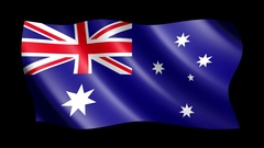 Flag of Australia isolated on alpha channel, seamless looping Stock Footage