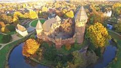 Aerial of castle Linn Stock Footage