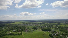 Aerial skyline landscape with village in Russia Stock Footage