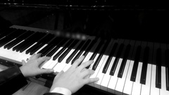 Hands of professional female musician playing melody on piano, retro effect Stock Footage