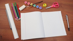 School supplies on the desk Stock Footage