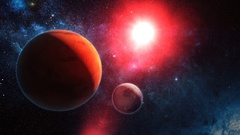 Red Alien Planet in Outer Space Stock Footage