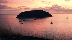 Aerial Ocean Sea Boat Sky Sunset Travel Landscape View Island Sunset Vacation Stock Footage