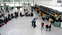 Queue at the Muich airport check in counter Stock Footage