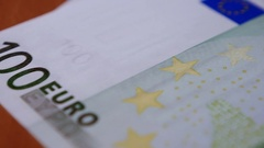 Part Of A Hundred Euro Banknote Stock Footage