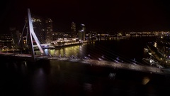 Timelapse of traffic on Erasmus Bridge at night, Rotterdam Stock Footage