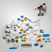 Businessman play success melody Stock Photos