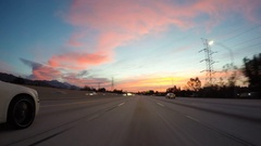 Sunrise Freeway Driving Time Lapse Southern California Stock Footage
