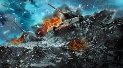 Two battle tanks moving in a snow storm Stock Illustration