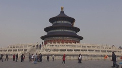 Tourist people visit Temple of Heaven ancient worship place in Beijing landmark Stock Footage