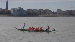 Kayak canoe team training for championship competition healthy sport practice  Stock Footage
