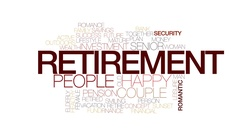 Retirement animated word cloud, text design animation. Kinetic typography. Stock Footage