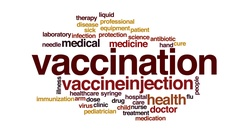 Vaccination animated word cloud, text design animation. Stock Footage