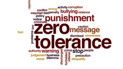 Zero tolerance animated word cloud, text design animation. Stock Footage