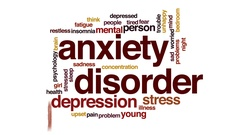 Anxiety disorder animated word cloud, text design animation. Stock Footage