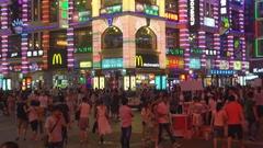 Tourist people visit Shangxiajiu commercial area Guangzhou town asian lifestyle Stock Footage