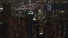 Amazing aerial view Hong Kong panorama by night famous skyscraper landmark icon Stock Footage