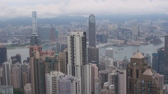 Hong Kong metropolis panorama in misty day heavy fog and modern skyscraper icon Stock Footage