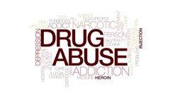 Drug abuse animated word cloud, text design animation. Kinetic typography. Stock Footage