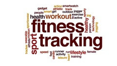 Fitness tracking animated word cloud, text design animation. Stock Footage