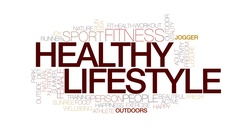 Healthy lifestyle animated word cloud, text animation. Kinetic typography. Stock Footage