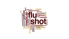 Flu shot animated word cloud, text design animation. Stock Footage