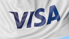Close-up of waving flag with Visa Inc. logo, seamless loop, blue background Stock Footage