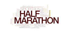 Half marathon animated word cloud, text design animation. Kinetic typography. Stock Footage