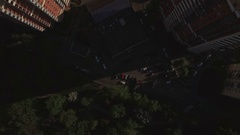 Aerial view of sleeping buildings and complexes with yard and playground, Moscow Stock Footage