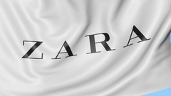 Close-up of waving flag with Zara logo, seamless loop, blue background Stock Footage
