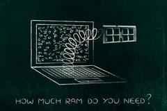 Laptop's RAM module out on a spring Stock Illustration