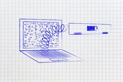 Laptop's battery module out on a spring Stock Illustration