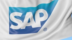 Close-up of waving flag with SAP SE logo, seamless loop, blue background Arkistovideo