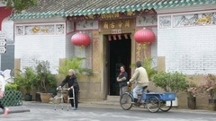 Kwan Tai temple in the main square in Tai O village. Hong Kong. Stock Footage