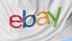Close-up of waving flag with eBay Inc. logo, seamless loop, blue background Stock Footage