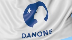 Close-up of waving flag with Danone logo, seamless loop, blue background Stock Footage