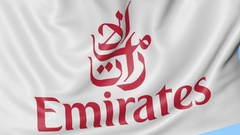 Close-up of waving flag with Emirates Airline logo, seamless loop, blue Arkistovideo