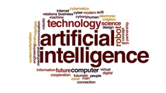 Artificial intelligence animated word cloud, text design animation. Stock Footage