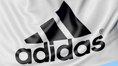 Close-up of waving flag with Adidas inscription and logo, seamless loop, blue Arkistovideo