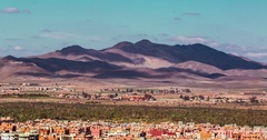 Panoramic view of Marrakesh and the snow capped Atlas mountains, Morocco Stock Footage