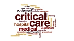 Critical care animated word cloud, text design animation. Stock Footage