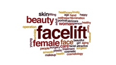 Facelift animated word cloud, text design animation. Stock Footage