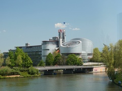European Court of human Rights in Strasbourg ECHR building Ill River Stock Footage