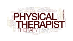 Physical therapist animated word cloud, text animation. Kinetic typography. Arkistovideo