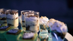 Rotating background with ice creams and cakes in 4K Stock Footage